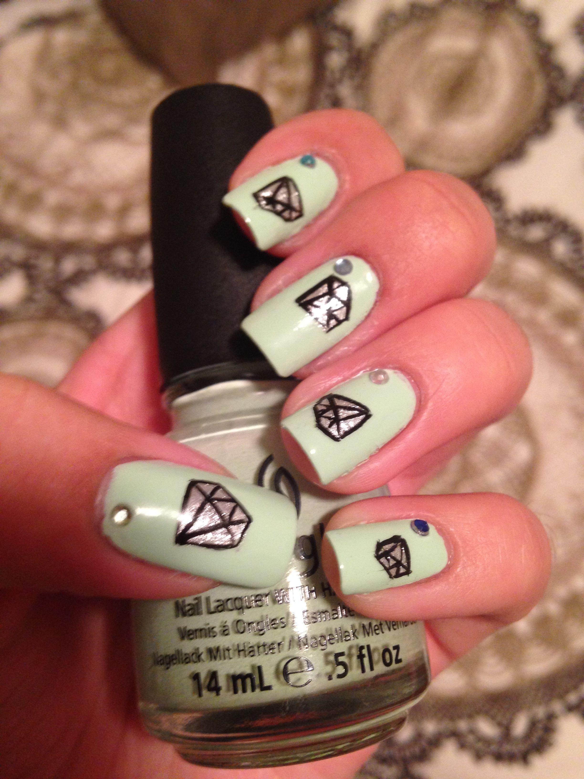 diamond nail art | My Nails | Pinterest | Diamond nail art and ...