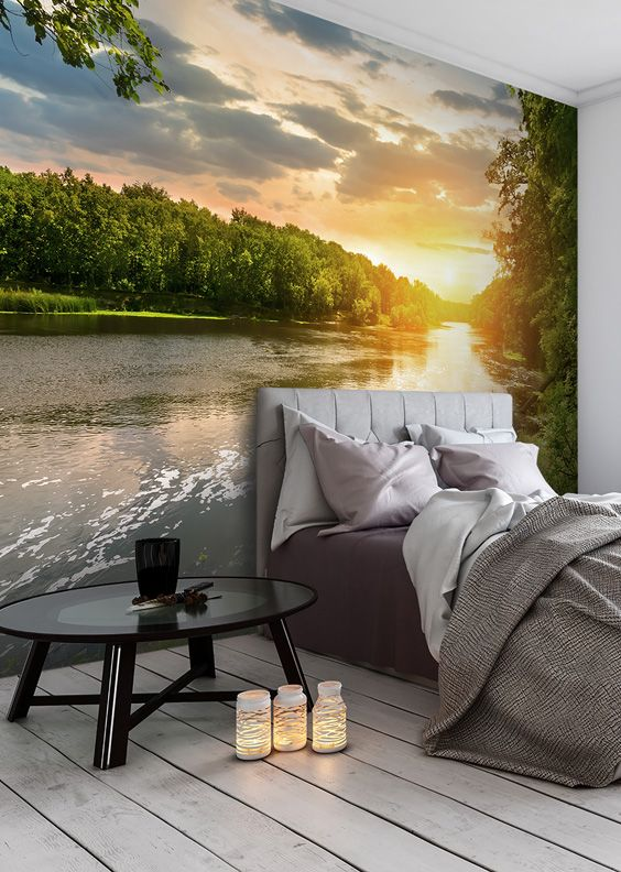 River Sunset Wall Mural Scenic wallpaper Wallpaper murals and