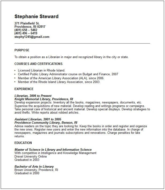Cv Examples Librarian Sample Resumes Curiculum Vitae And Cover Letter Sample Resume Resume Examples Resume