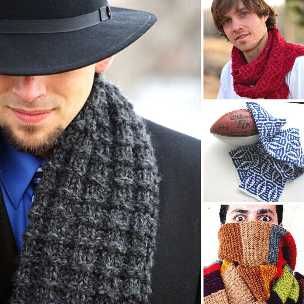 10 Men's Scarf Free Knitting Patterns — Blog.NobleKnits in ...