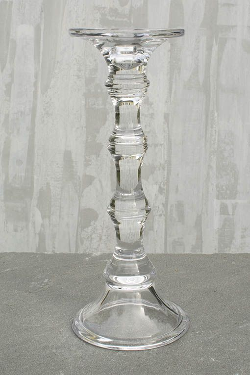 Candle Holder Pillar Taper 11 8 Inches Tall Clear Glass