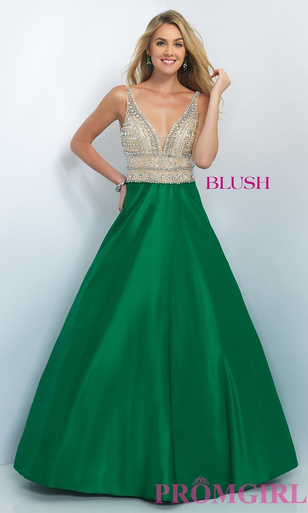 BL-5524 - Long Ball Gown Style V-Neck Prom Dress by Blush ...