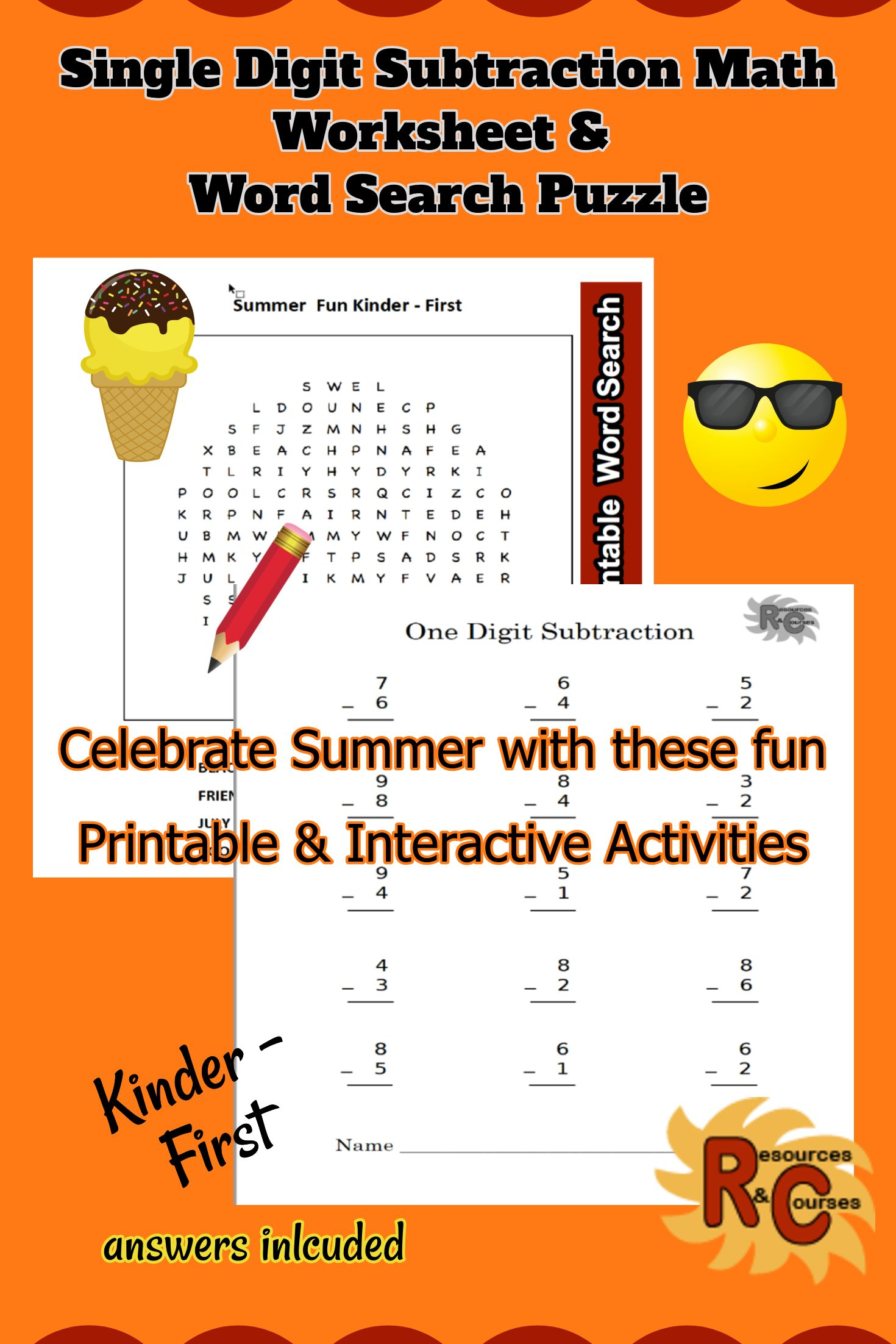 Summer Fun Interactive Literacy Amp Math Worksheets K 1st