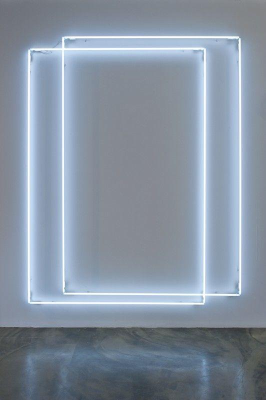 'Ghost No.21' (2013) by Swiss artist Lori Hersberger (b.1964). Neon tubes, colour white, 290 x 325 cm. source: Jerome Zodo Contemporary, Milano