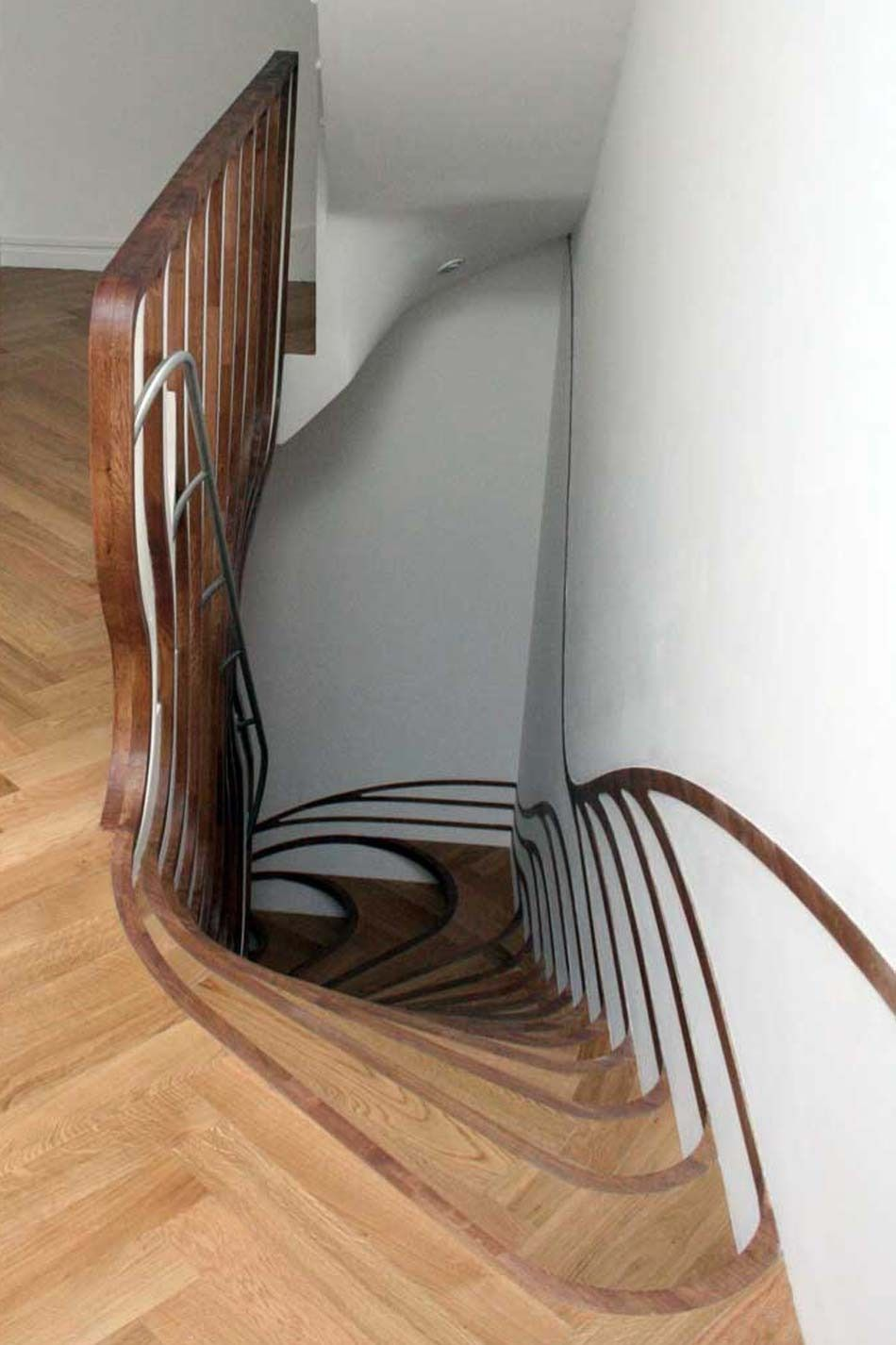 Unique Brown Staircase Design Idea With Silver Banister, Brown ... //