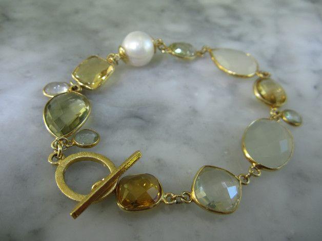 Edelstein Sets - Armband Perlen Citrin Charms Lemonquarz Hochzeit - ein Designerstück von TOMKJustbe bei DaWanda