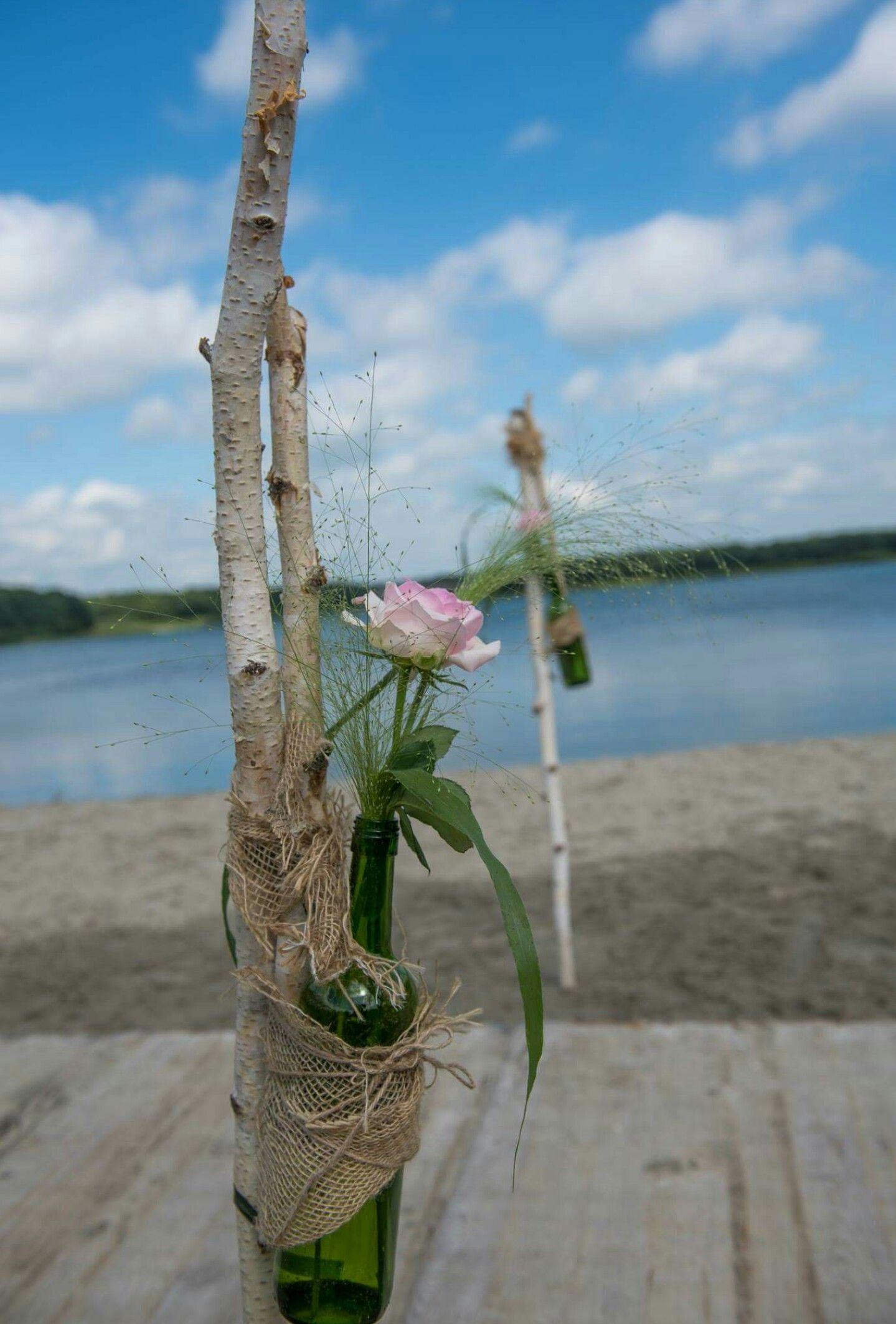 Mooie trouwdecoratie voor beachwedding.