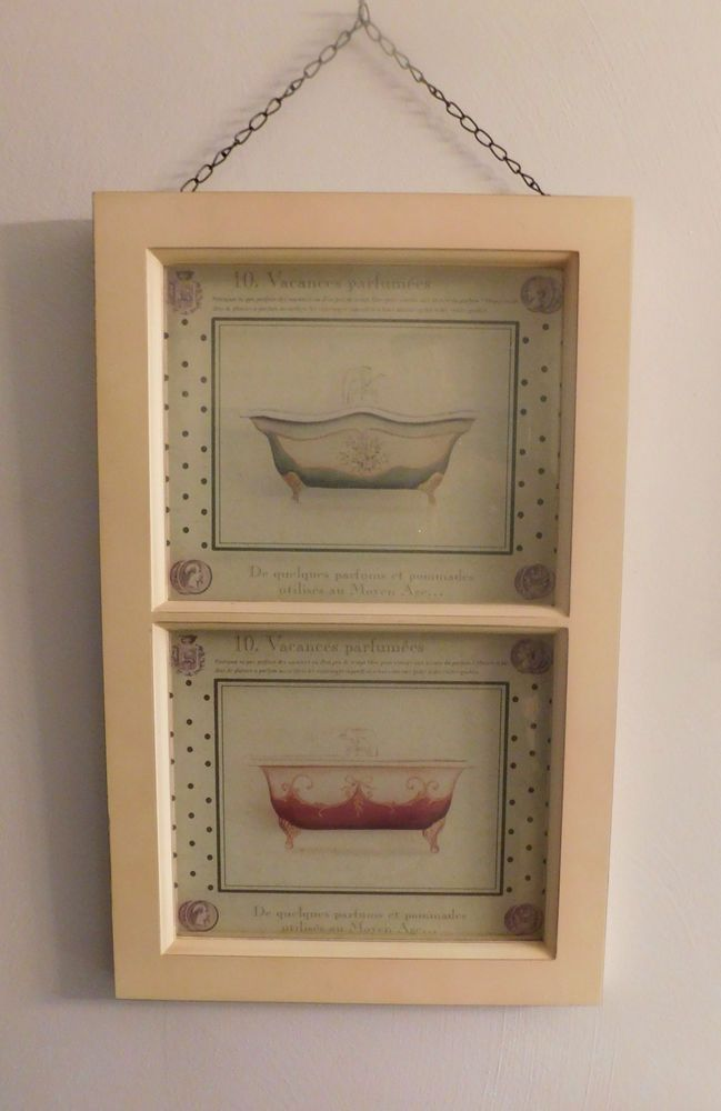 Wood Framed Glass Window with French Style Bathroom Etchings by Home Goods #HomeGoods #FrenchCountry