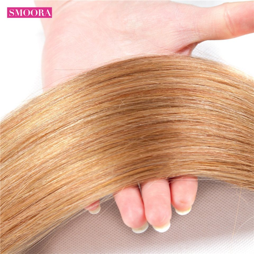 T1b 27 Honey Blonde Ombre 3 Brazilian Straight Hair Bundles With Closure Human Hair Weave With Closure Shiningstar Non Remy Hair Human Hair Weaves 3/4 Bundles With Closure