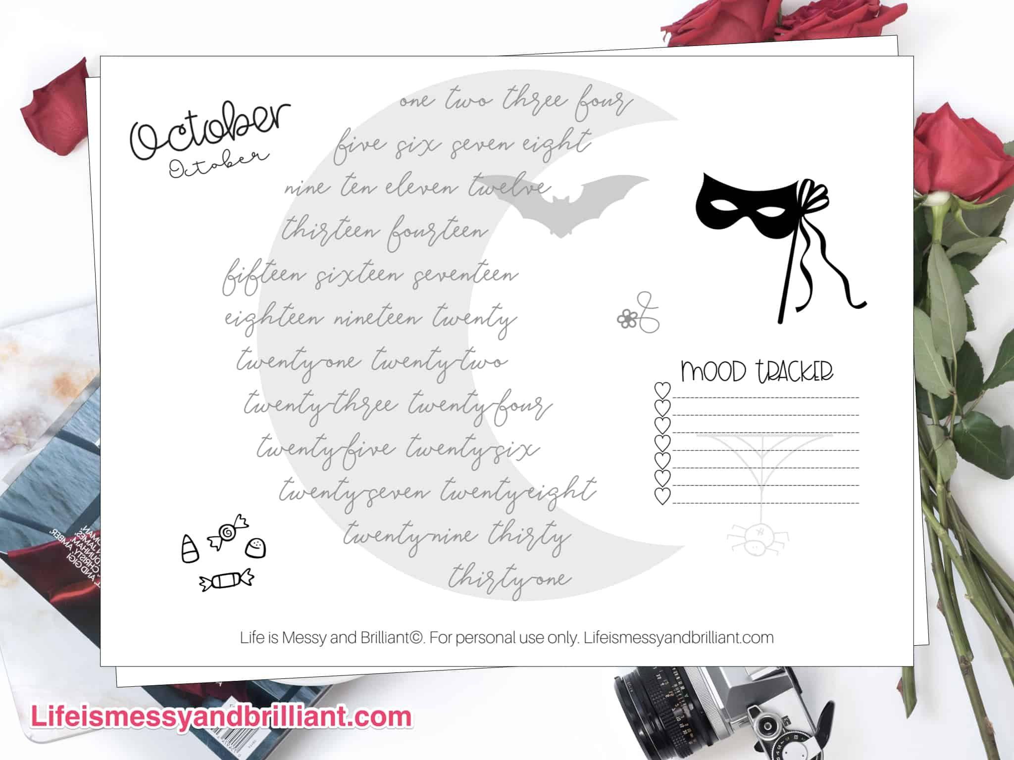 Free October Mood Tracker Printable