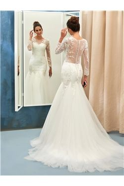 Hall Floor-Length All Sizes Church Court Beading Button Trumpet/Mermaid Wedding Dress