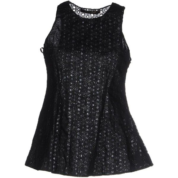 Roberto Cavalli Top (8 760 SEK) ❤ liked on Polyvore featuring tops, black, embroidered top, roberto cavalli, roberto cavalli top and sleeveless tops