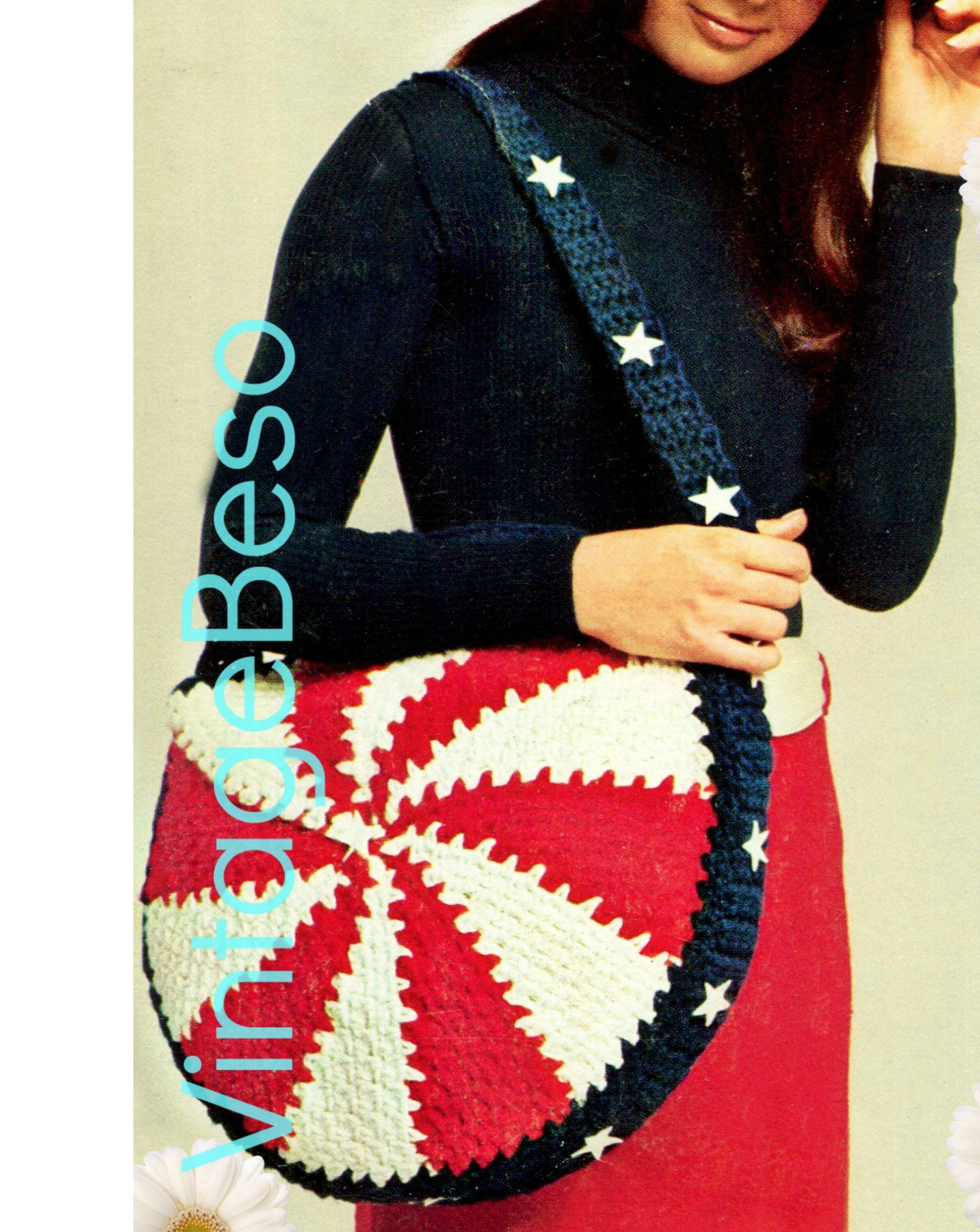 3 Patterns 1970s Vintage Crochet Pattern * Hat Cap Bag Purse Tote Briefcase * Patriotic Crochet * Great for Beginners * Watermarked PDF Only