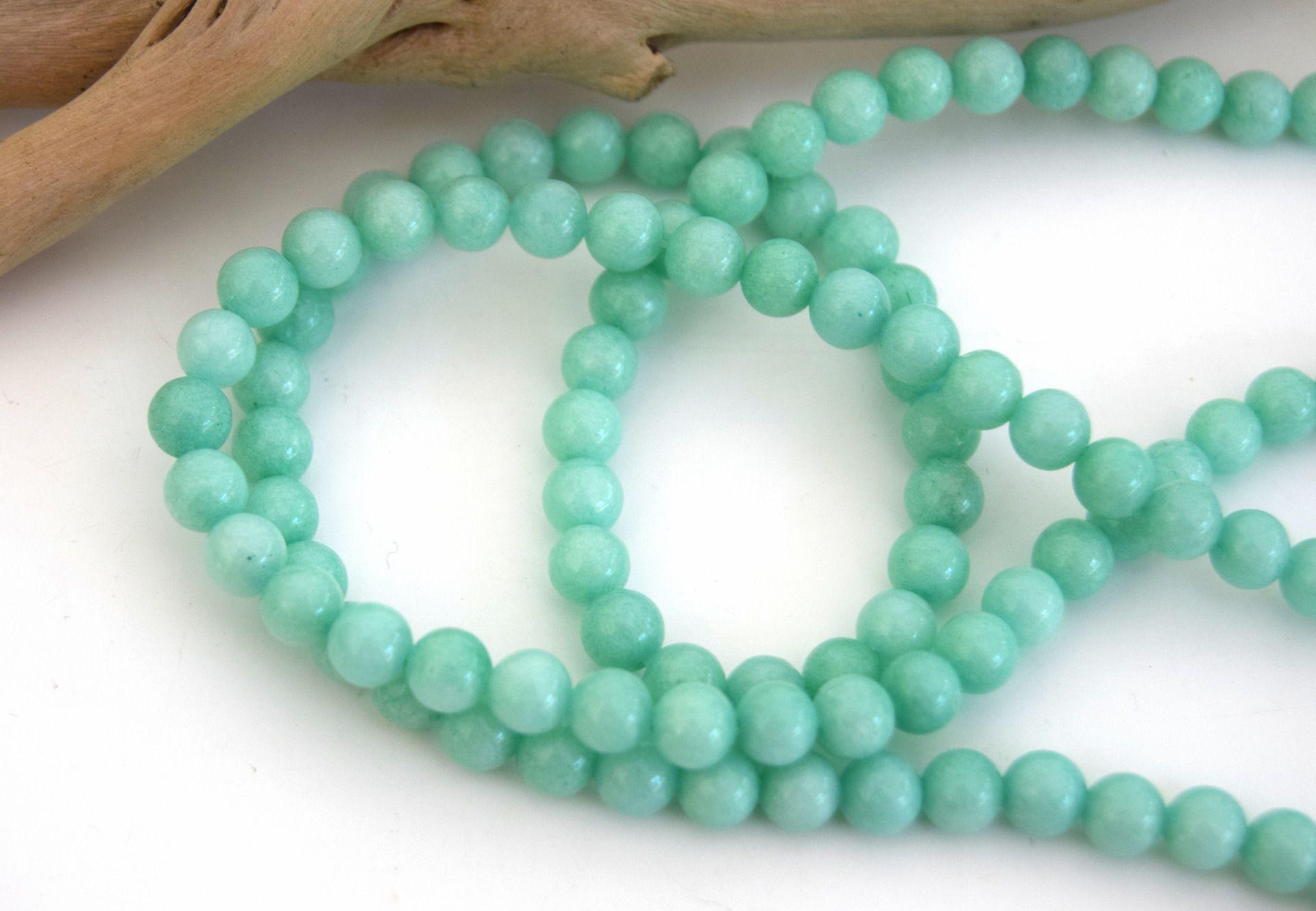 10 Perles amazonite pierre naturelle ronde aqua-marine 6mm PVA201601 : Perles…