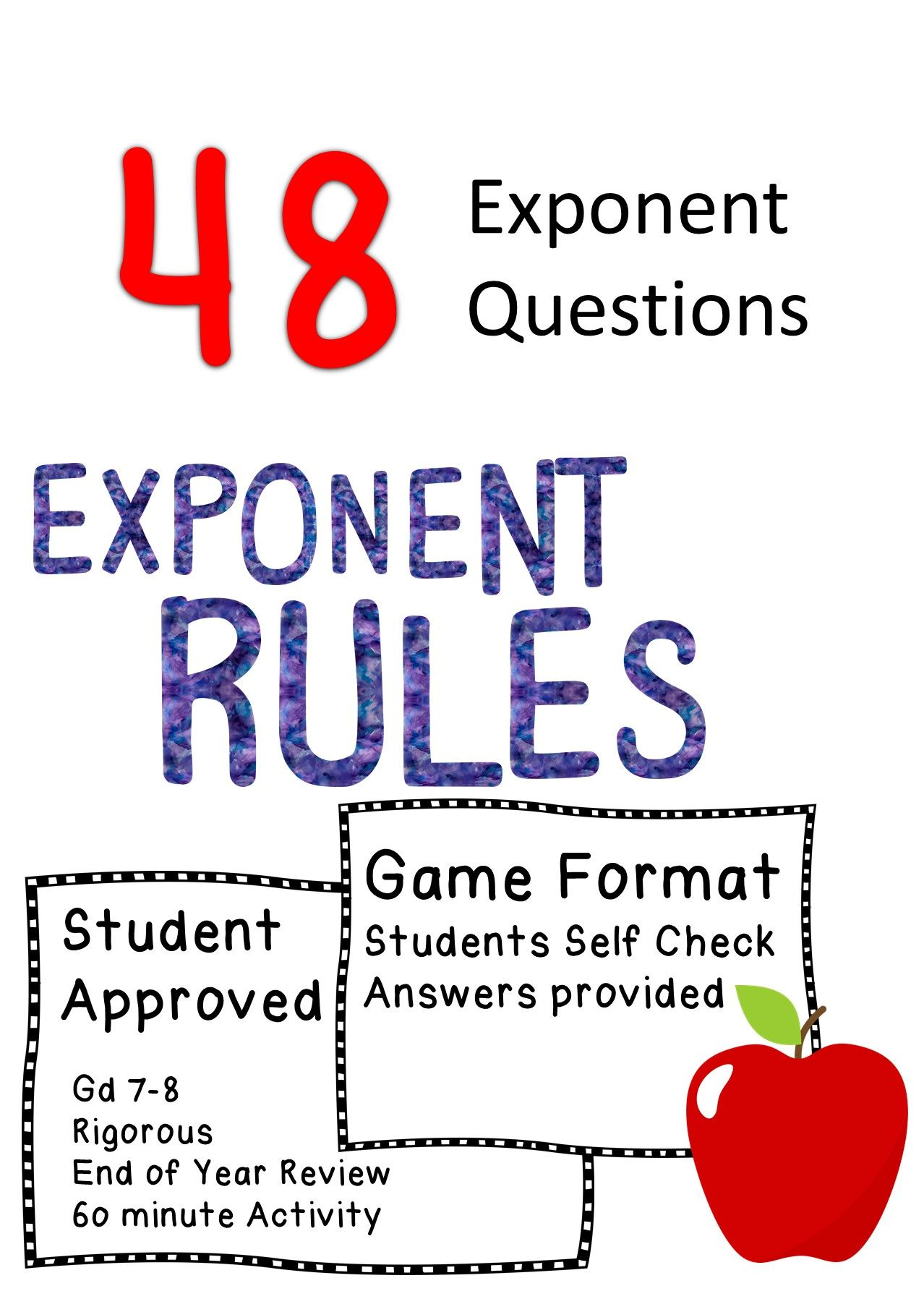 Laws Of Exponents Exponent Rules Editable 8 A 1