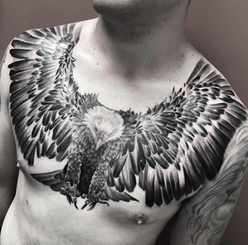 Flying Eagle Chest Tattoo Human Canvas Pinterest Chest Tattoo