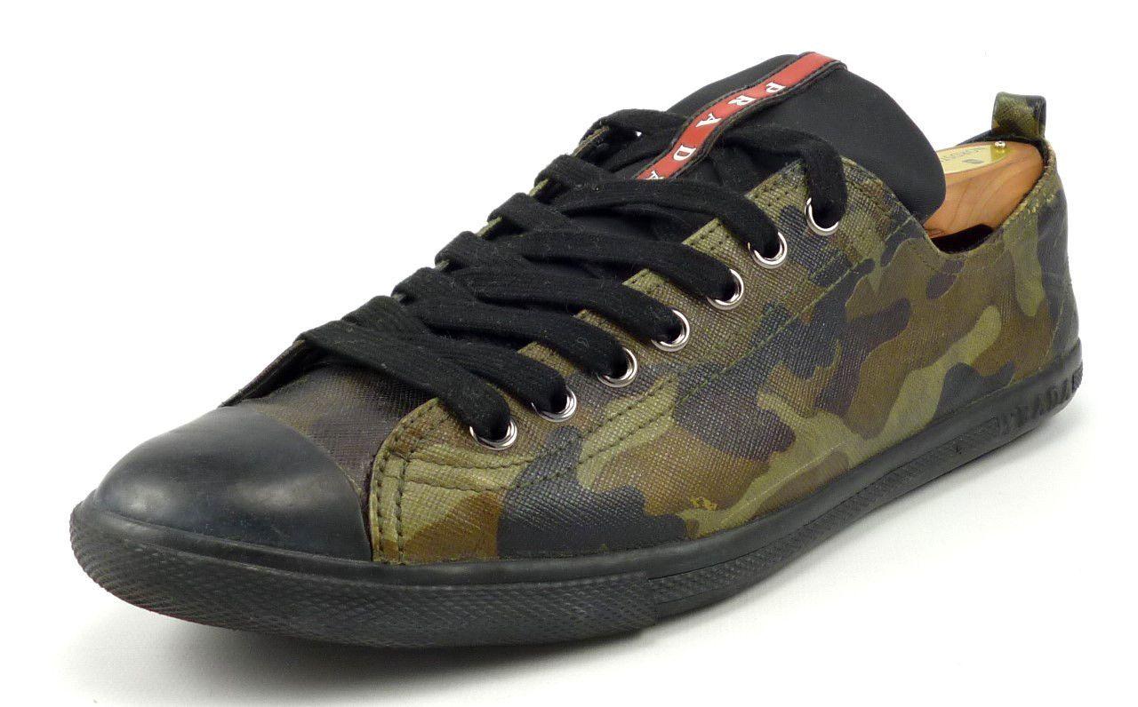 5791b44053ce3 Prada Mens Shoes Size 8, US 9.5 Coated Canvas Sneakers 4E2105 Camo Green