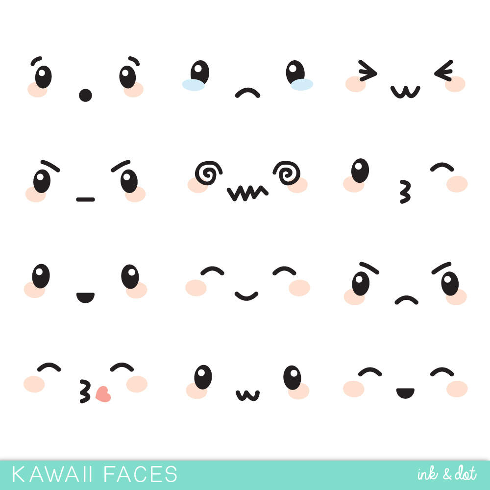 Kawaii Faces Clip Art Cute Face Expressions Japanese Anime Etsy Anime Faces Expressions Kawaii Faces Face Expressions