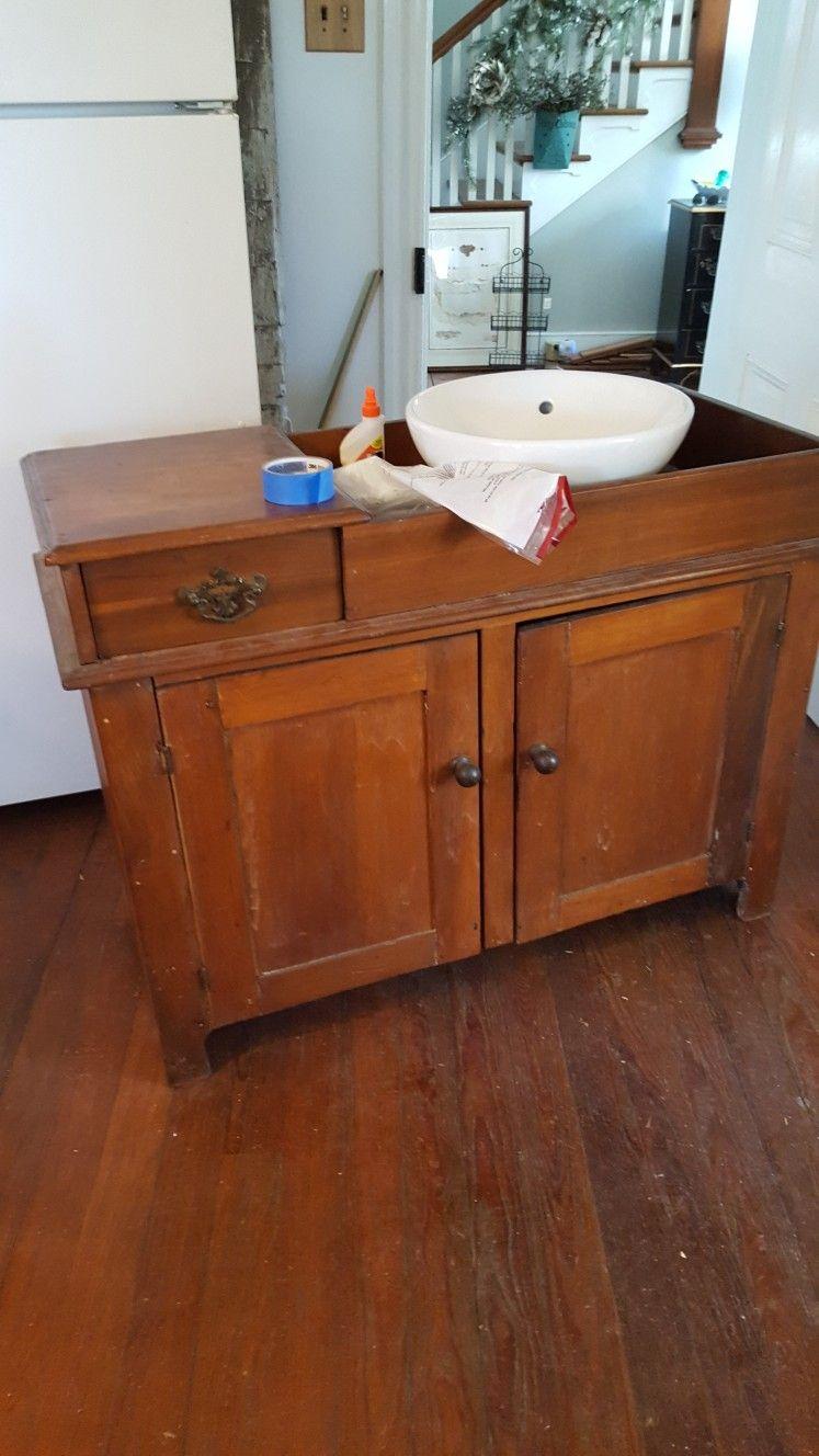 repurpose antique pa drysink vessel sink vanity barn wood