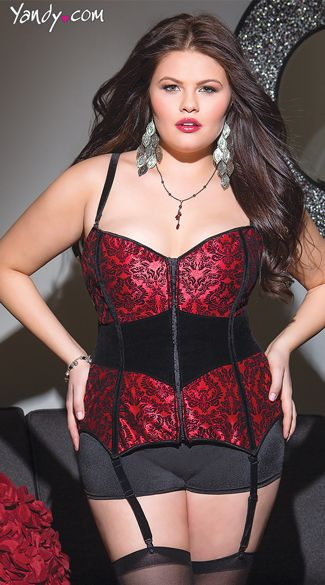 curvy fashion: lovely red and black damask print corset. #plussize