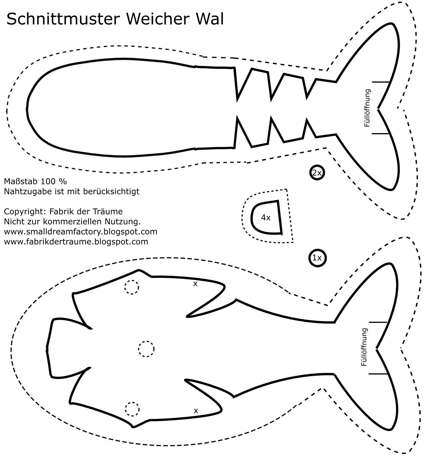 Kostenloses Schnittmuster für einen Wal | Nähen | Pinterest | Wal ...