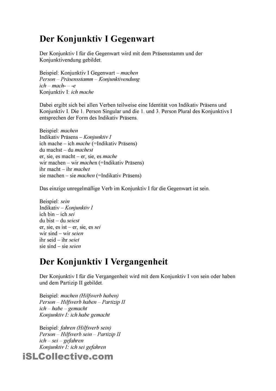Der Konjunktiv I. Indirekte Rede | Deutsch, Grammatik und Schule