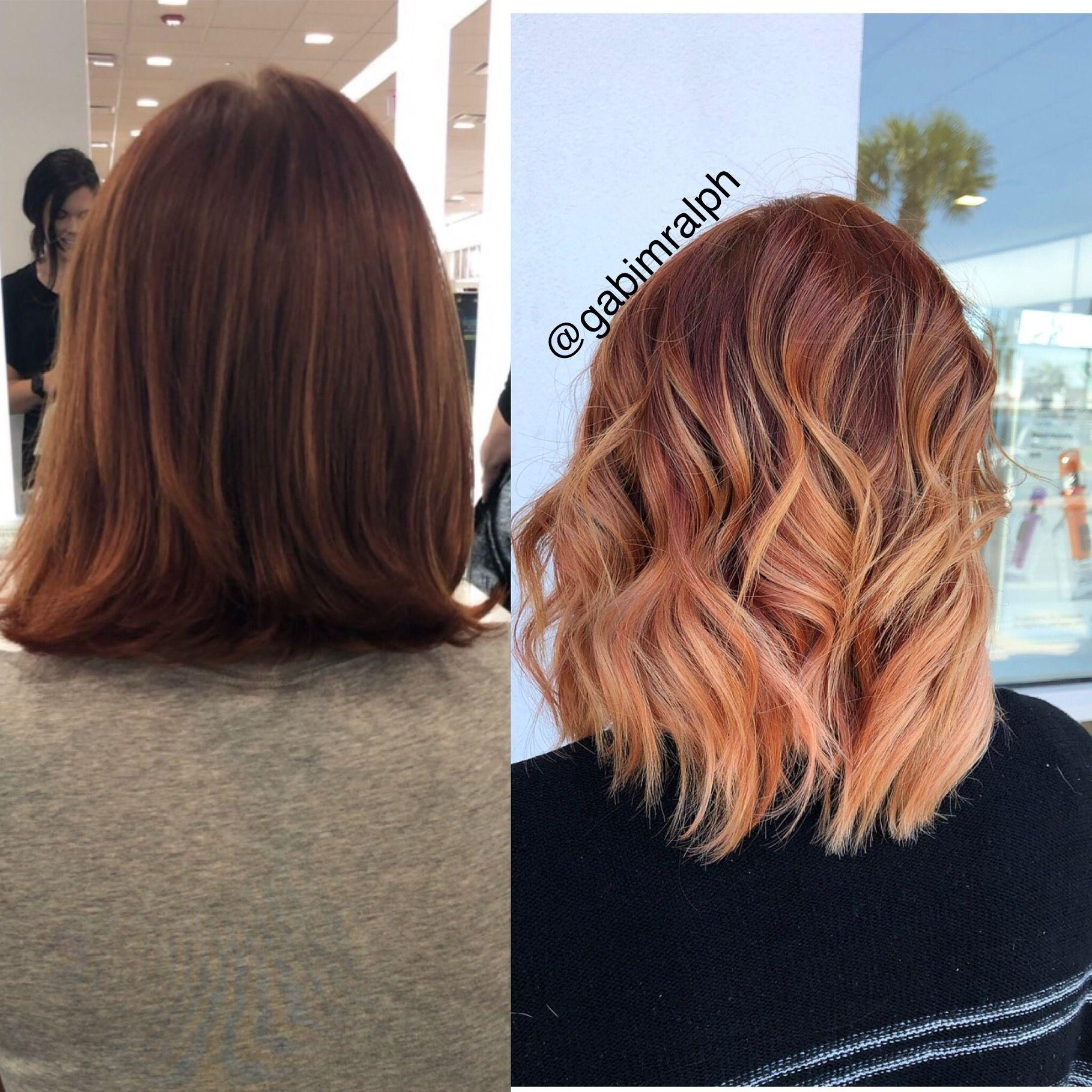 Copper Hair Balayage Red Hair Balayage Short Hair Balayage With