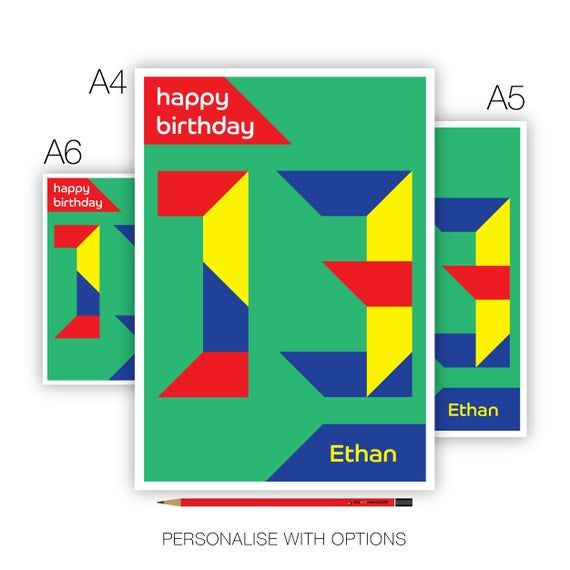Personalised 13th Birthday Card For Boy For Girl, Edit