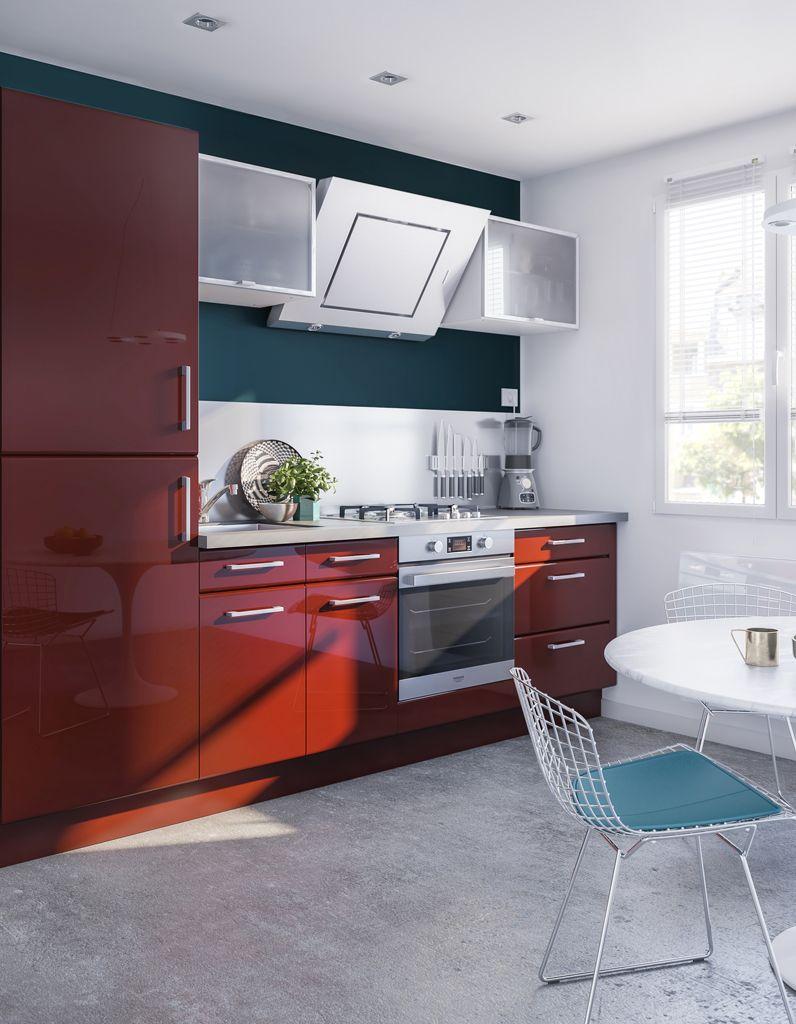 cuisine rouge meuble cuisine