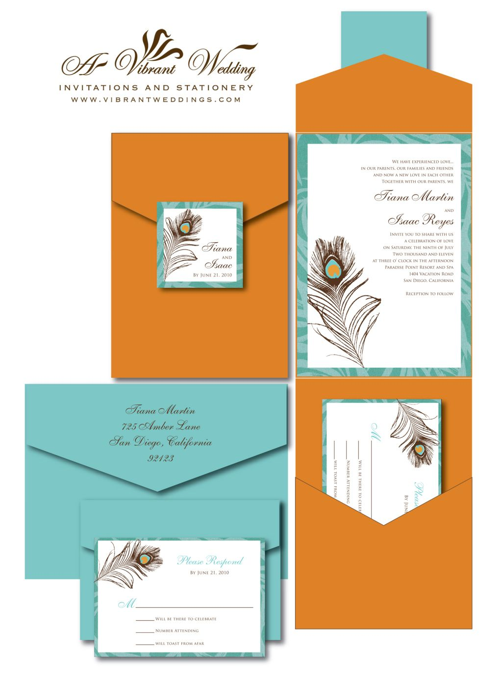 Burnt Orange And Turquoise Wedding Invitation With Peacock Feather