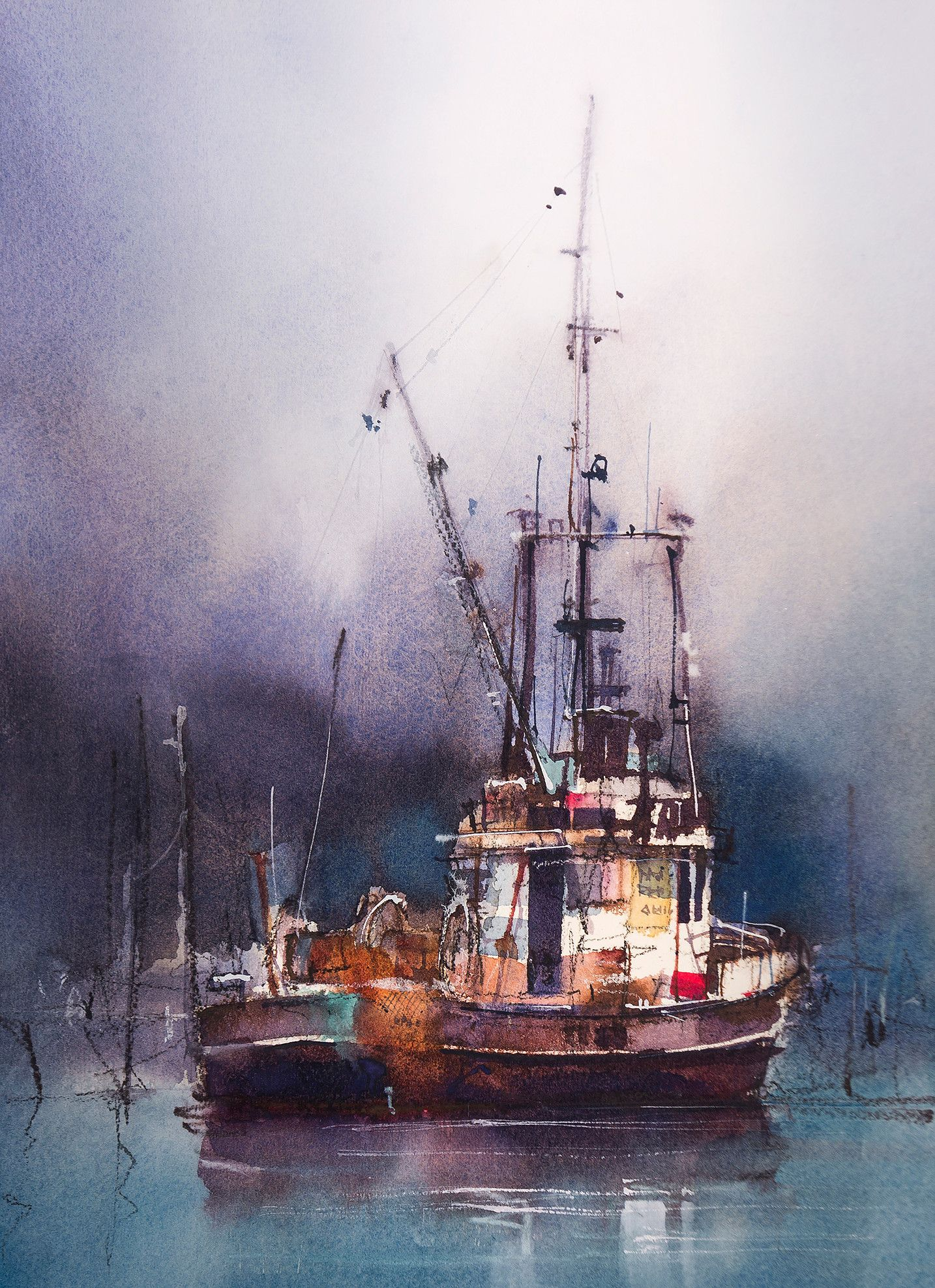 Watercolor Painting Of Moored Fishing Boat Showing Contrasting