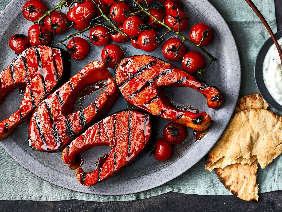 Quick Cured Salmon Steaks With Grilled Tomatoes And Tzatziki Recipe Recipe In 2020 Salmon Steak Grilled Tomatoes Tzatziki Recipes