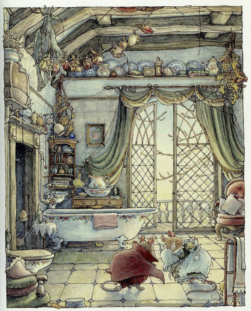 Secret Staircase #art #illustration #mice #mouse #story #bathroom #ornate