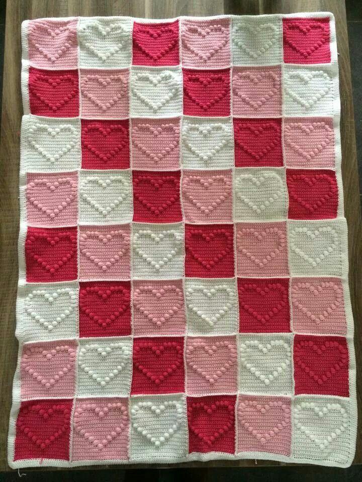 Hartjesdeken Crochet Crochet Knitting Baby Blanket Crochet