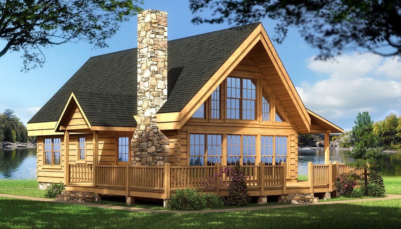 Log cabin house plans rockbridge log home cabin plans back deck and place for upper deck Log home design ideas planning guide
