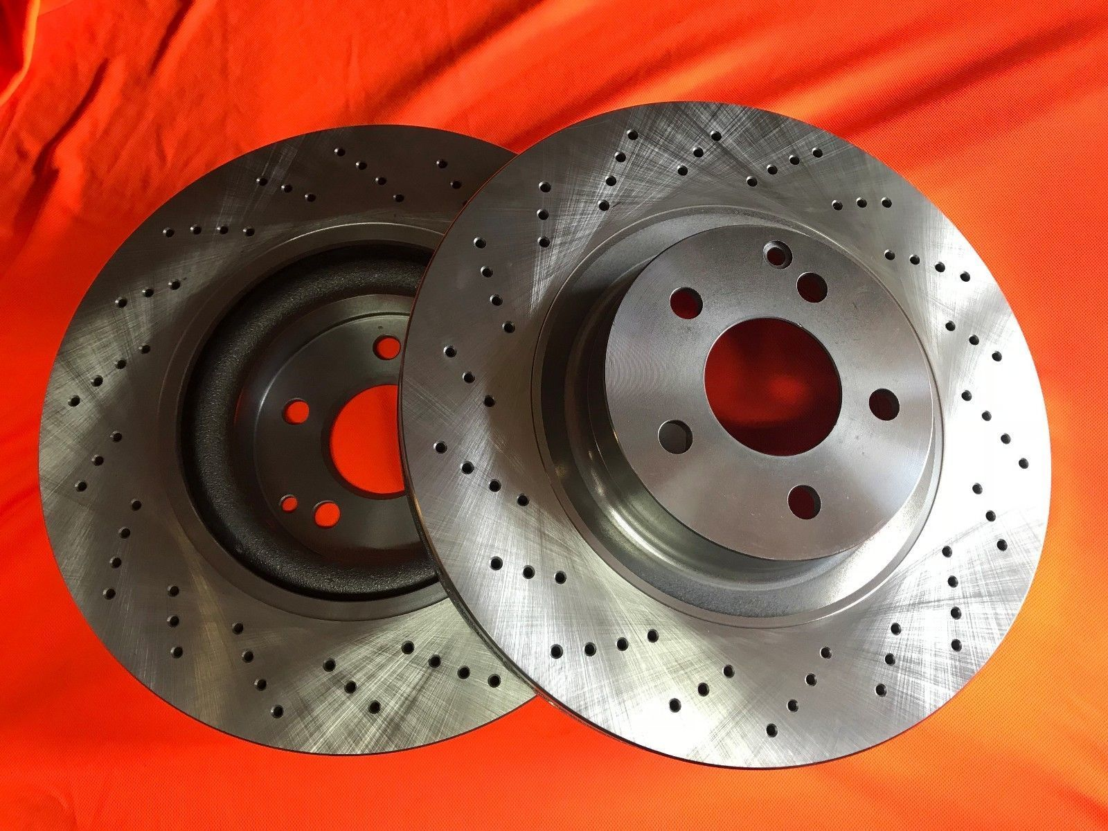 DIMPLD SLOTTED REAR DISC BRAKE ROTORS+EBC PADS Fits Ford Falcon BF XR6 Turbo XR8
