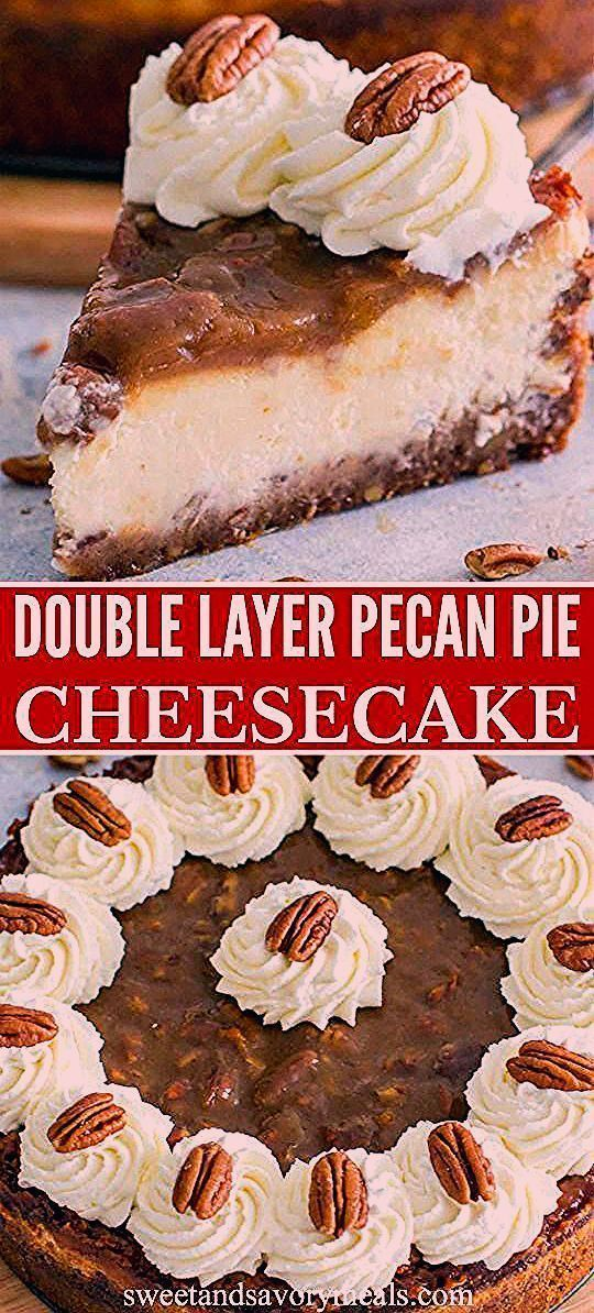 Pecan Pie Cheesecake has a layer of rich and creamy New York cheesecake, sandwiched between two thick layers of pecan pie filling. #pecanpie #fallrecipes #thanksgivingrecipes #cheesecake #easyrecipes #sweetandsavorymeals #cheesecakerecipes #pecanpiecheesecakerecipe Pecan Pie Cheesecake has a layer of rich and creamy New York cheesecake, sandwiched between two thick layers of pecan pie filling. #pecanpie #fallrecipes #thanksgivingrecipes #cheesecake #easyrecipes #sweetandsavorymeals #cheesecakere #pecanpiecheesecakerecipe