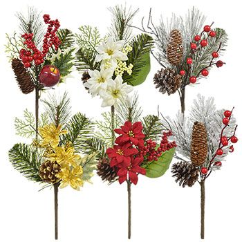 this collection of christmas floral picks are the perfect accent to all your christmas decorating and floral arrangements each pick has a base of pine