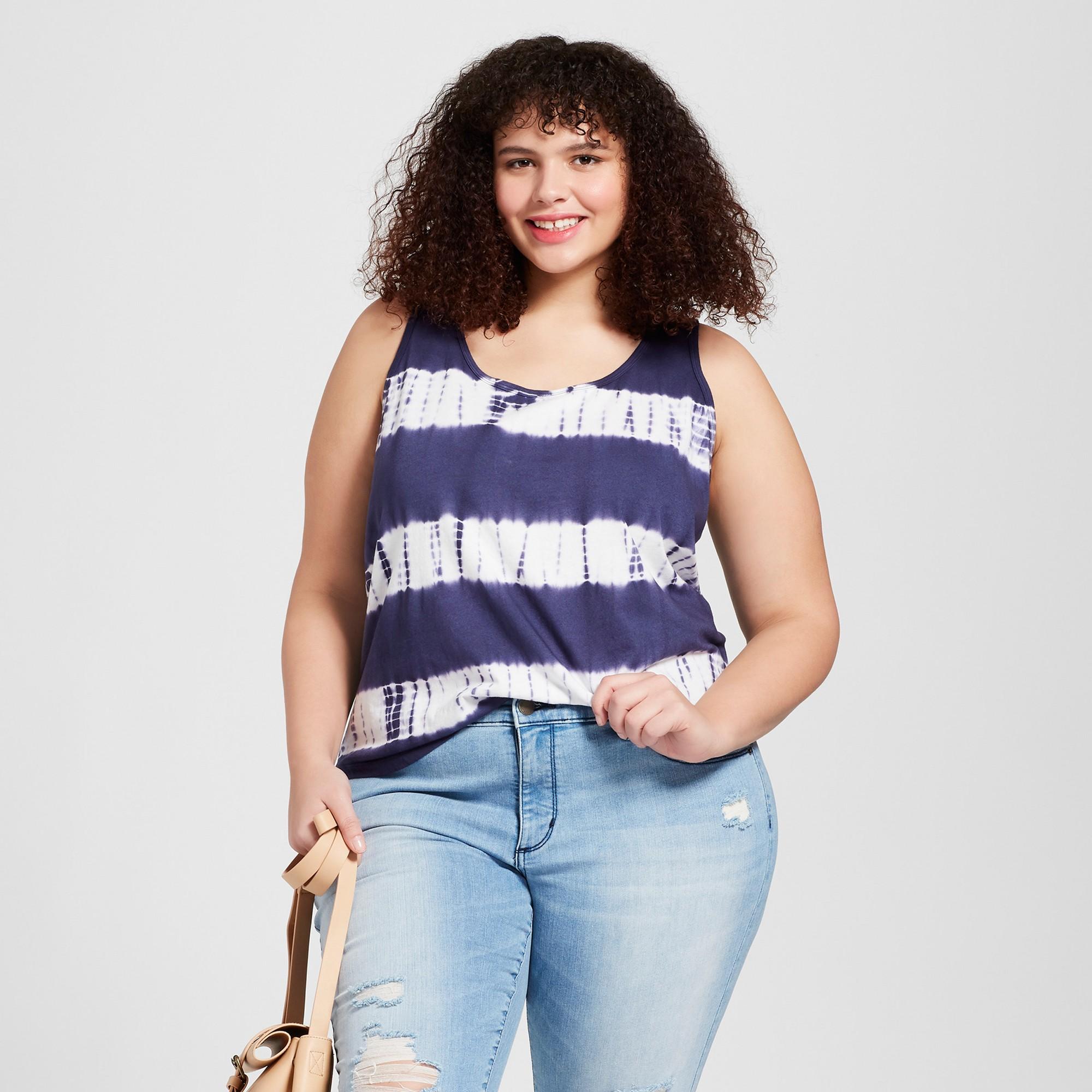 242eb101e9d36d Women s Plus Size Lafayette Knit Tank Top - Universal Thread Navy Tie Dye  3X