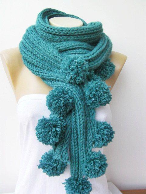 SALE  Pompom scarf/Teal blue  knitting scarf par SenaDesign sur Etsy, $23.90