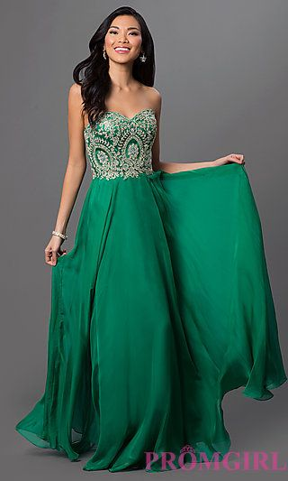 8d9800c98ef4 Strapless Floor Length Dress with Lace Embroidered Bodice at PromGirl.com