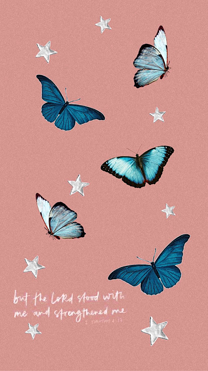 Christian vsco faith wallpaper iPhone blue butterflies