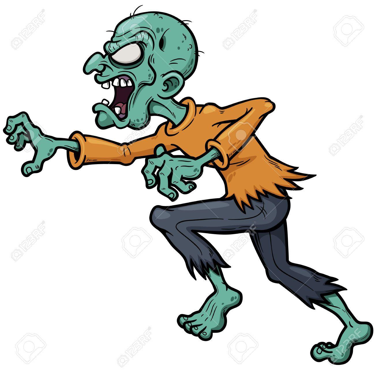 Vector Illustration Of Cartoon Zombie Running Zombie Cartoon Zombie Vector Vector Illustration