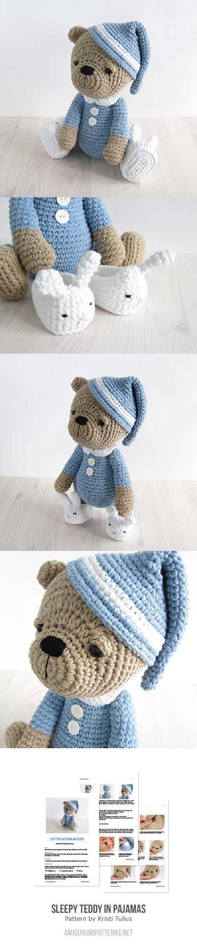 Sleepy teddy in pajamas ༺✿ƬⱤღ http://www.pinterest.com/teretegui ...