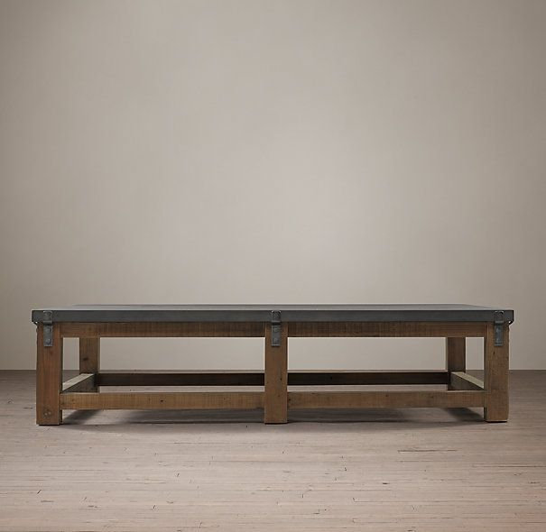 reclaimed wood u0026 zinc strap coffee table 800 restoration hardware