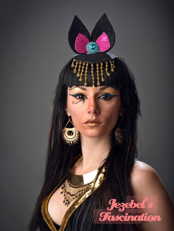 Bastet Egyptian Cat God Goddess Fascinator Glitter Ears Cleopatra Costume Headpiece Gold Beaded Aqua Burlesque Halloween Headdress Hat by JezebelsFascination on Etsy https://www.etsy.com/listing/234135987/bastet-egyptian-cat-god-goddess