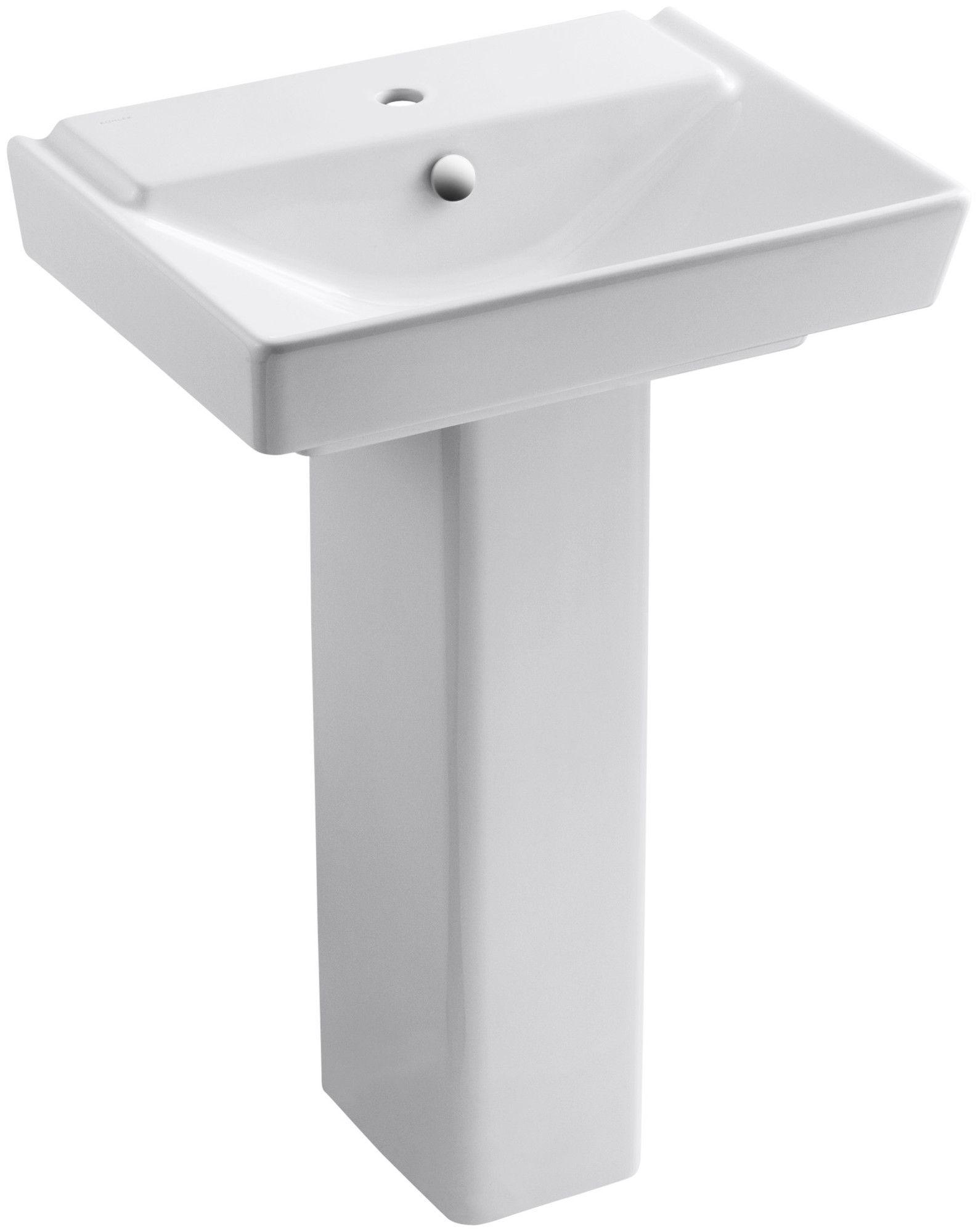 Reve Ceramic Pedestal Bathroom Sink With Overflow Sink Bathroom
