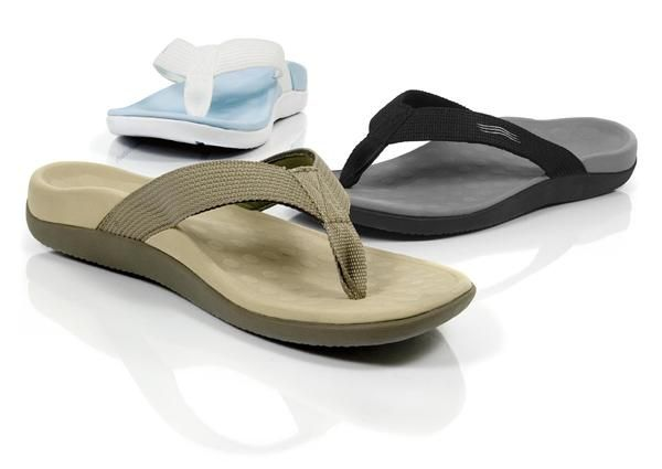 Instead of slippers use a sandal with an arch support to wear
