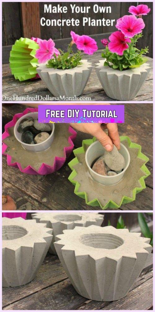 Diy Cute Concrete Planter Tutorial Using Plastic Molds 400 x 300