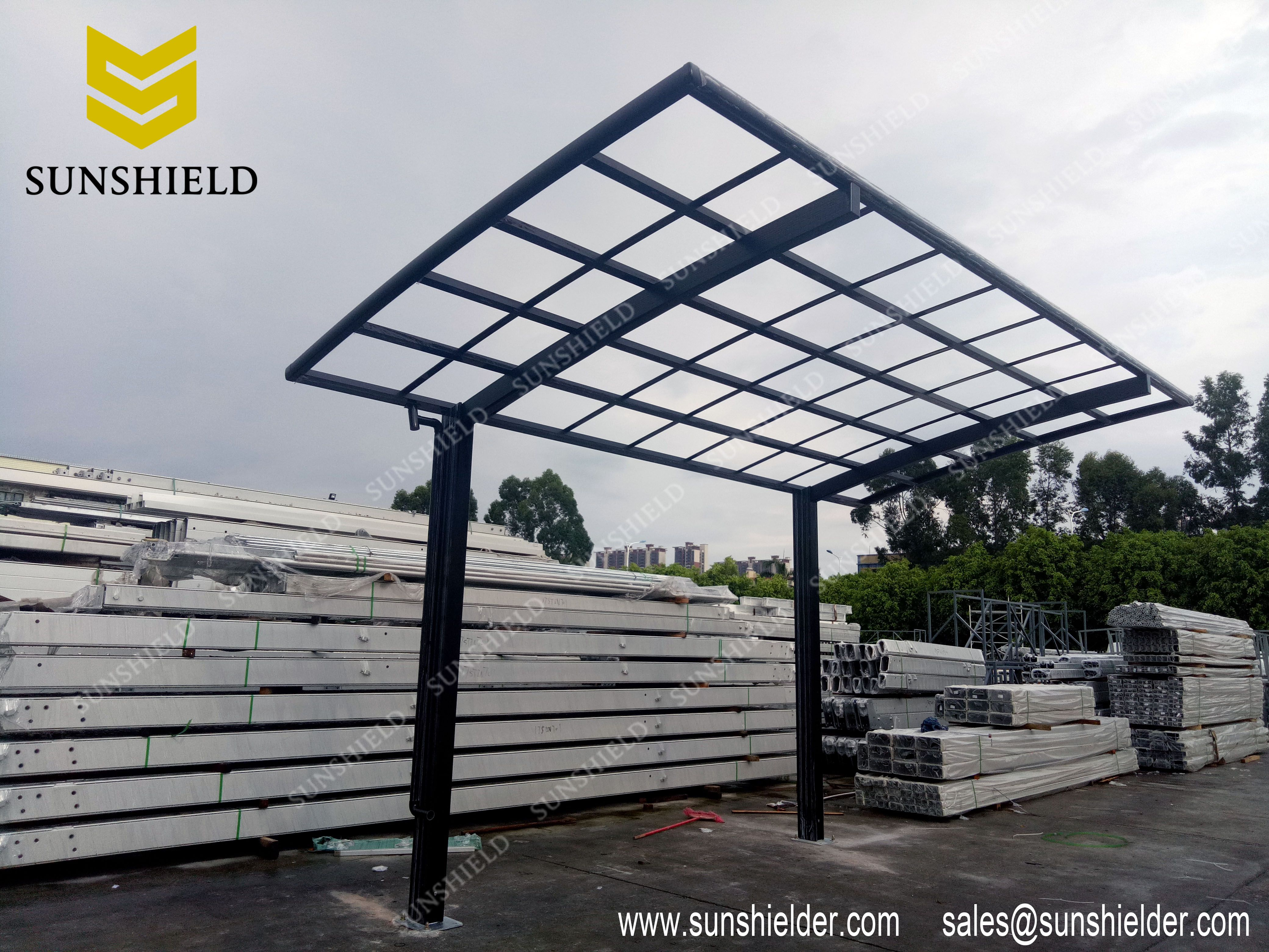 Black Arched Aluminum Polycarbonate Carport For 1 Car / Patio Cover/  Driveway Shade / 18.4*9.2*8u0027 / Custom In Size And Colors / 30 Years Lifespan